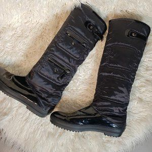 Tod's Tall fabric patent leather zipper boots